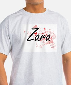 Zara Artistic Name Design with Hearts T-Shirt