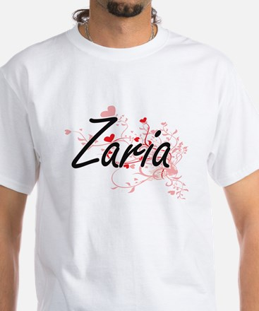 Zaria Artistic Name Design with Hearts T-Shirt