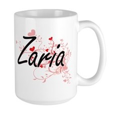 Zaria Artistic Name Design with Hearts Mugs