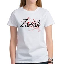 Zariah Artistic Name Design with Hearts T-Shirt