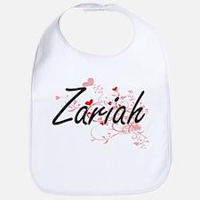Zariah Artistic Name Design with Hearts Bib