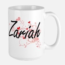 Zariah Artistic Name Design with Hearts Mugs