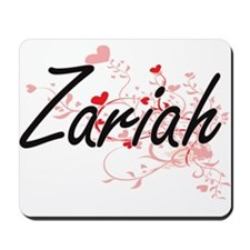 Zariah Artistic Name Design with Hearts Mousepad
