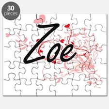 Zoe Artistic Name Design with Hearts Puzzle