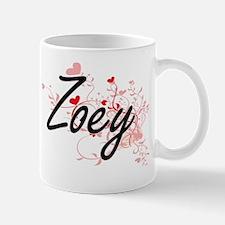 Zoey Artistic Name Design with Hearts Mug