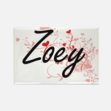 Zoey Artistic Name Design with Hearts Magnets