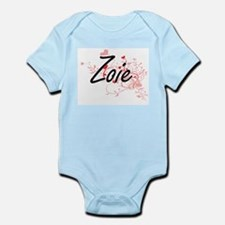 Zoie Artistic Name Design with Hearts Body Suit