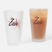 Zoie Artistic Name Design with Hear Drinking Glass