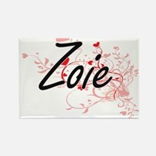 Zoie Artistic Name Design with Hearts Magnets