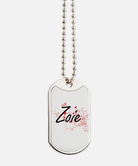 Zoie Artistic Name Design with Hearts Dog Tags