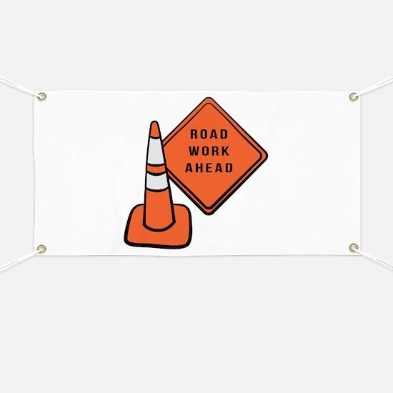 Road work ahead traffic cone Banner