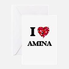 I Love Amina Greeting Cards