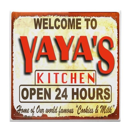 Yaya's Kitchen Sign Art Tile Coaster