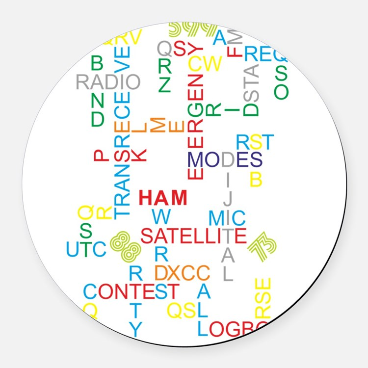 HAM RADIO WORDS Round Car Magnet