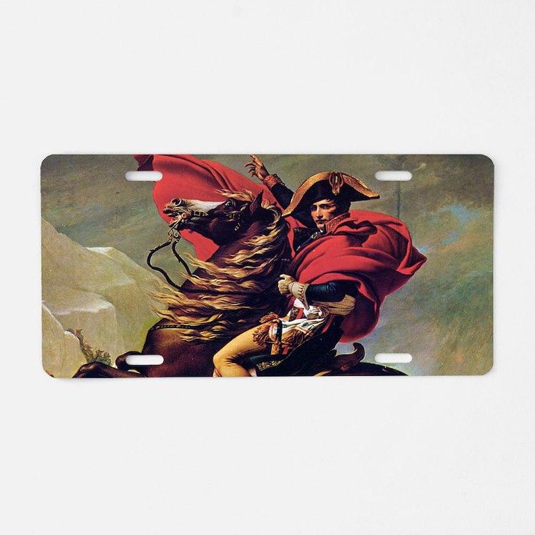 Napoleon On Horse Painting Aluminum License Plate