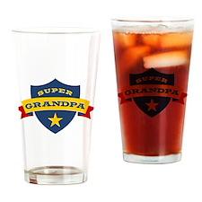 Super Grandpa Shield Drinking Glass