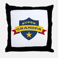 Super Grandpa Shield Throw Pillow