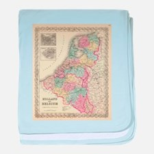 Vintage Map of Holland and Belgium (1 baby blanket