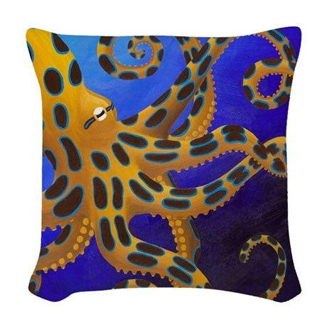 Blue Ringed Octopus Woven Throw Pillow by listing-store-130020033
