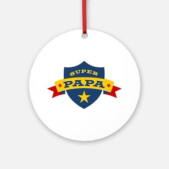 Super Papa Shield Ornament (Round)