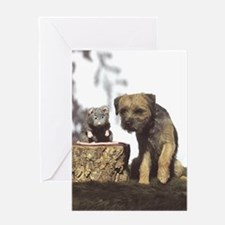 Border Terrier and Rat Greeting Card