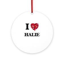 I Love Halie Ornament (Round)