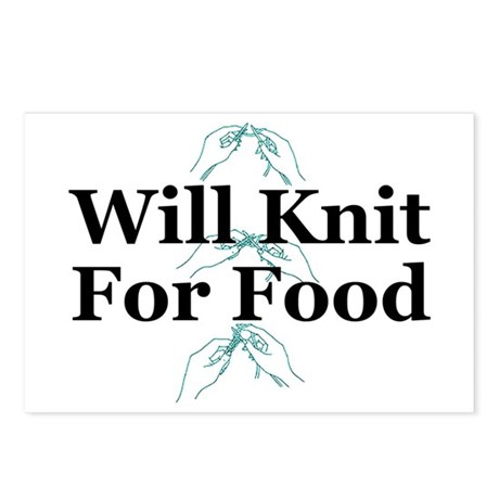 Will Knit For Food Postcards (Package of 8)