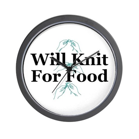 Will Knit For Food Wall Clock