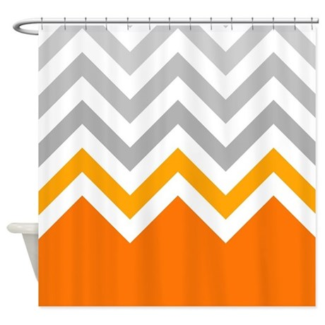 Gray And Orange Chevrons Shower Curtain By ShowerCurtainsWorld