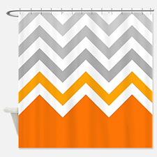 gray and orange chevrons Shower Curtain
