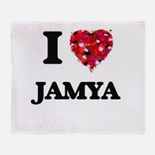 I Love Jamya Throw Blanket