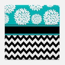 Teal Black Blooms Chevron Tile Coaster