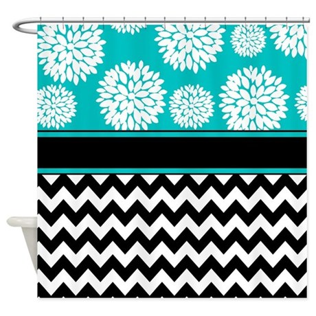 teal black blooms chevron shower curtain by