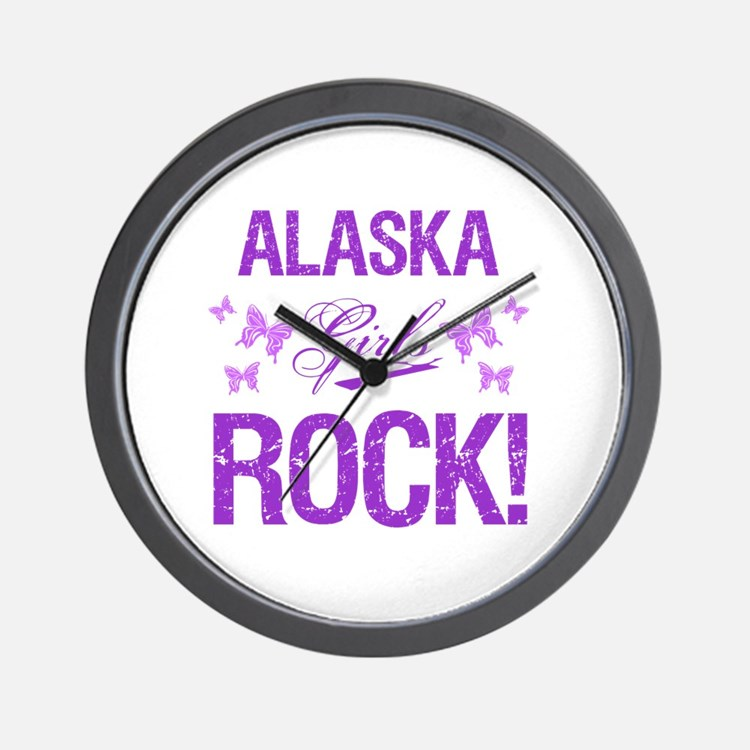 Alaska Girls Rock Wall Clock