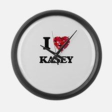 I Love Kasey Large Wall Clock