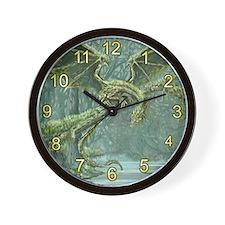 Grassy Earth Dragon Wall Clock