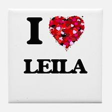 I Love Leila Tile Coaster