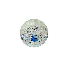 Blue Peacocks Mini Button