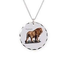 Asiatic Lion Necklace Circle Charm