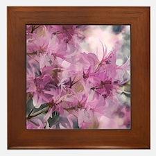 Magenta Floral Pattern Framed Tile