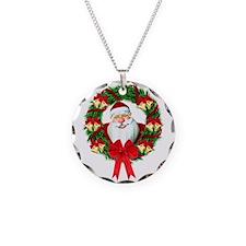 Santa Claus Wreath Necklace Circle Charm