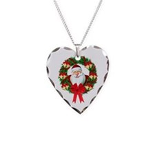 Santa Claus Wreath Necklace Heart Charm