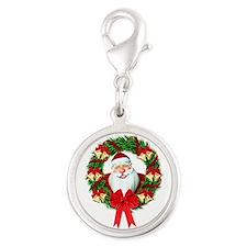 Santa Claus Wreath Silver Round Charm