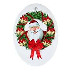 Santa Claus Wreath Ornament (Oval)
