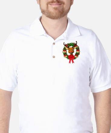 Rudolph the Red Nosed Reindeer Wreath Golf Shirt