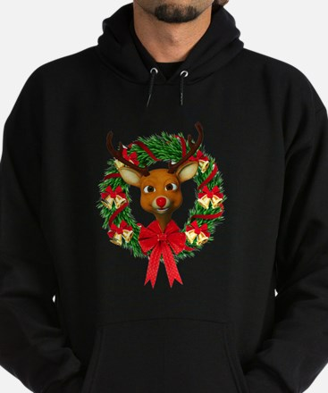 Rudolph the Red Nosed Reindeer Wreat Hoodie (dark)