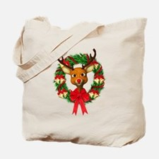 Rudolph the Red Nosed Reindeer Wreath Tote Bag