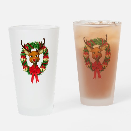 Rudolph the Red Nosed Reindeer Wrea Drinking Glass