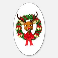 Rudolph the Red Nosed Reindeer Wrea Sticker (Oval)