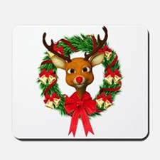 Rudolph the Red Nosed Reindeer Wreath Mousepad